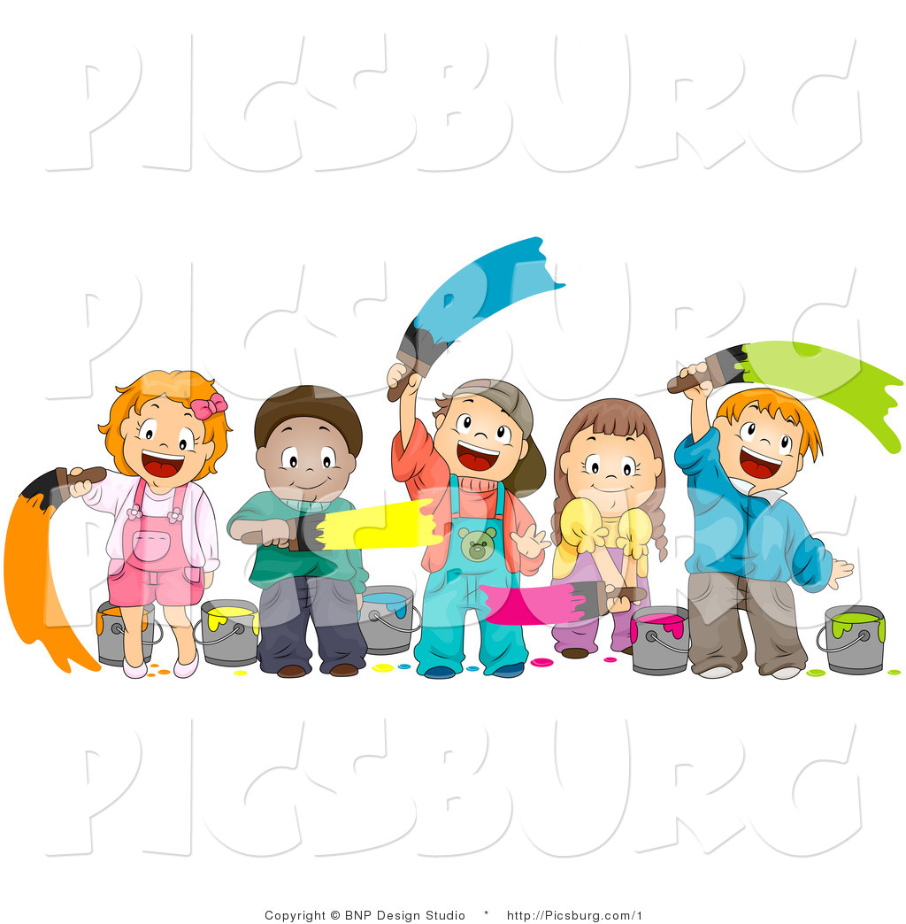 clip art of a happy group of diverse kids painting with paint brushes - Kids Pictures To Paint