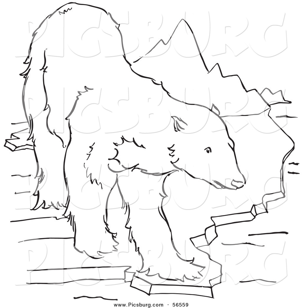 clip art of a polar bear standing on an ice ledge near mountains