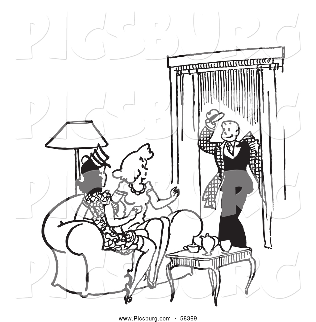 Living room clipart black and white - Clip Art Of A Retro Vintage Man Greeting Two Ladies In A Living Room In Black