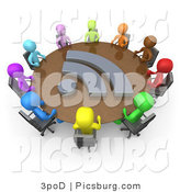 Clip Art of 3d Diverse People at a RSS Meeting Table by 3poD