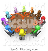 Clip Art of 3d People Holding a Meeting About Labour Hours Around a Clock Table by 3poD