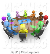 Clip Art of 3d People Holding a Meeting and Trying to Solve a Jigsaw Around a Large Rectangular Conference Table in an Office by 3poD