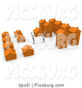 Clip Art of 3d People Moving Their Home by 3poD