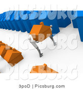 Clip Art of 3d People Moving Their Home from One Neighborhood to Another by 3poD