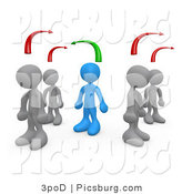 Clip Art of 3d People Thinking Differently from Others by 3poD