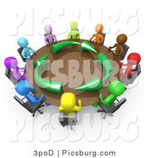 Clip Art of a 3d Diverse Group Holding a Meeting About Running an Environmentally Friendly Company by 3poD