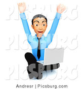 Clip Art of a 3d Happy Businessman Sitting on the Floor with a Laptop by