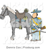 Clip Art of a Armed Union Soldier Standing Beside His Horse on a Battlefield and Holding a Musket by Djart
