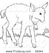 Clip Art of a Baby Goat Wearing a Bell - Black and White Line Art by Picsburg