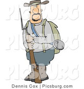 Clip Art of a Bearded Confederate Army Soldier Holding a Rifle with a Bayonet by Djart