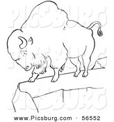 Clip Art of a Bison Standing on a Cliff - Black and White Line Art by Picsburg