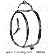 Clip Art of a Black and White Alarm Clock by Picsburg