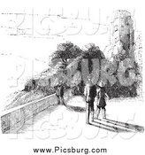 Clip Art of a Black and White People by Castle Ruins in Black and White by Picsburg