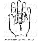 Clip Art of a Black and White Retro Hand Holding a Prank Buzzer Toy on White by Picsburg