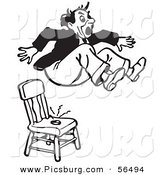 Clip Art of a Black and White Retro Surprised Pranked Man Jumping out of a Shocking Chair by Picsburg