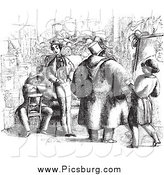 Clip Art of a Black and White Scene of an Artist Selling Portraits by Picsburg
