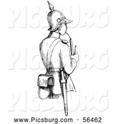 Clip Art of a Black and White Soldier Smoking a Pipe by Picsburg