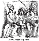 Clip Art of a Black and White Vintage Boy Between Soldiers Comparing Swords by Picsburg