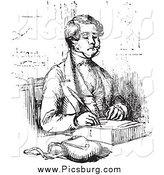 Clip Art of a Black and White Vintage Man Writing by Picsburg