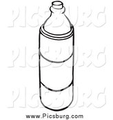 Clip Art of a Black and White Water Bottle by Picsburg