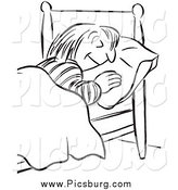 Clip Art of a Black and White Woman Sleeping by Picsburg