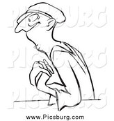 Clip Art of a Black and White Worker Man in Love by Picsburg