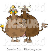 Clip Art of a Brown Male and Female Cow Couple Dancing Together by Djart
