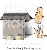Clip Art of a Businessman in the Doghouse, Looking out with Worry by Djart