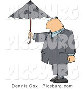Clip Art of a Businessperson Standing Outside Under an Umbrella in Rainy Weather by Djart