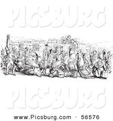 Clip Art of a Busy Mail Delivery Train - Black and White by Picsburg
