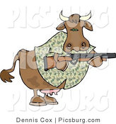 Clip Art of a Camouflaged Cow Holding a Hunting Rifle, Facing the Right by Djart