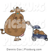 Clip Art of a Caring Mother Cow Pushing Her Calf in a Baby Stroller by Djart