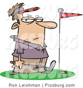 Clip Art of a Caucasian Male Golfer Standing by a Golf Ball on Top of a Red Flag on the Green by Toonaday