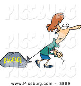 Clip Art of a Caucasian Woman Tugging a Heavy Bag by Toonaday