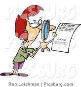 Clip Art of a Cautious Woman Using a Magnifying Glass to Read the Fine Print on a Document by Toonaday