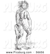 Clip Art of a Cercopithecus Wild Man Creature - Fantasy Black and White Line Drawing by Picsburg