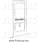 Clip Art of a Closed Shop Black and White by Picsburg