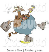 Clip Art of a Clumsy Repairman Cow Slipping on a Yellow Banana Peel by Djart