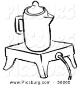 Clip Art of a Coffee Percolator Seated on an Electric Warmer - Black and White Line Art by Picsburg