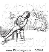Clip Art of a Coloring Page of a Man Sleeping in a Chair by Picsburg