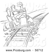Clip Art of a Coloring Page of a Retro Vintage Late Driver Taking the Railroad Tracks Black and White by Picsburg