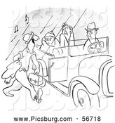 Clip Art of a Coloring Page of a Vintage Morning Person Approaching a Car Pool Ride of Grumpy People Black and White by Picsburg