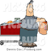 Clip Art of a Confused Man Shopping for Underwears in a Store by Djart