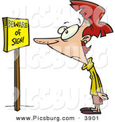 Clip Art of a Confused White Woman Reading a Sign That Says Beware of Sign by Toonaday