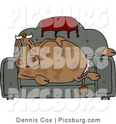 Clip Art of a Couch Potato Cow Sitting and Resting on the Couch by Djart