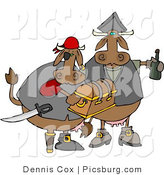 Clip Art of a Couple of Brown Cow Pirates Carrying Treasure Chest and Bottle of Rum in Their Hands by Djart