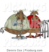 Clip Art of a Couple of Decrepit Old Cows Walking Together by Djart