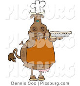 Clip Art of a Cow Baker Person Holding a Freshly Baked Pie by Djart