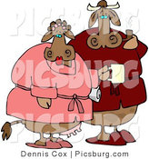 Clip Art of a Cow Pair Wearing Red and Pink Housecoats in the Morning by Djart