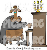 Clip Art of a Cow Pianist Playing a Piano with a Chandelier by Djart